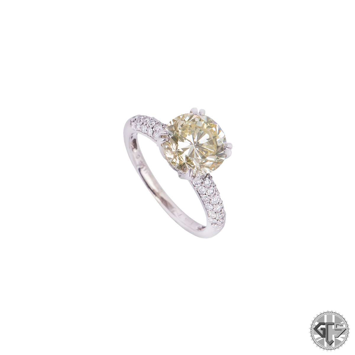 White Gold Fancy Yellow Diamond Engagement Ring 3.00ct VVS2